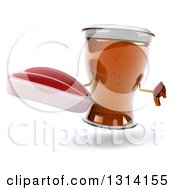 Clipart Of A 3d Beer Mug Character Giving A Thumb Down And Holding A Beef Steak Royalty Free Illustration