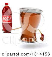 Clipart Of A 3d Beer Mug Character Holding A Soda Bottle Royalty Free Illustration