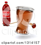 Clipart Of A 3d Beer Mug Character Holding And Pointing To A Soda Bottle Royalty Free Illustration