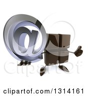 Clipart Of A 3d Chocolate Candy Bar Character Holding Up An Email Arobase At Symbol And Thumb Royalty Free Illustration by Julos