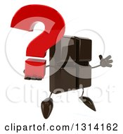 Clipart Of A 3d Chocolate Candy Bar Character Facing Slightly Right Jumping And Holding A Question Mark Royalty Free Illustration by Julos