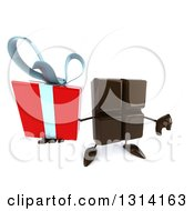 Clipart Of A 3d Chocolate Candy Bar Character Holding Up A Gift And A Thumb Down Royalty Free Illustration by Julos