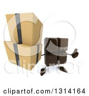 Clipart Of A 3d Chocolate Candy Bar Character Holding Up Boxes And A Thumb Royalty Free Illustration by Julos