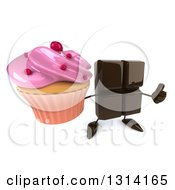 Clipart Of A 3d Chocolate Candy Bar Character Holding Up A Thumb And A Pink Frosted Cupcake Royalty Free Illustration by Julos