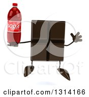 Clipart Of A 3d Chocolate Candy Bar Character Jumping And Holding A Soda Bottle Royalty Free Illustration by Julos
