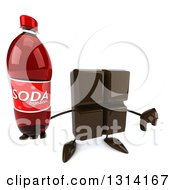 Clipart Of A 3d Chocolate Candy Bar Character Holding Up A Thumb Down And A Soda Bottle Royalty Free Illustration by Julos
