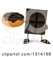 Clipart Of A 3d Chocolate Candy Bar Character Holding And Pointing To A Donut Royalty Free Illustration by Julos