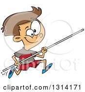 Clipart Of A Track And Field Brunette White Pole Vault Boy Running Royalty Free Vector Illustration