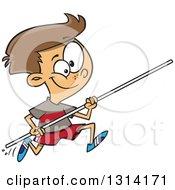 Track And Field Brunette White Pole Vault Boy Running
