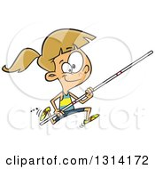 Clipart Of A Track And Field Dirty Blond White Pole Vault Girl Running Royalty Free Vector Illustration