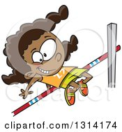 Clipart Of A Happy Black Track And Field Black Girl Doing The High Jump Royalty Free Vector Illustration by toonaday