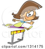 Clipart Of A Track And Field Brunette White Girl Leaping A Track Hurdle Royalty Free Vector Illustration by Ron Leishman