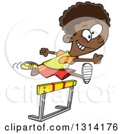 Clipart Of A Track And Field Black Boy Leaping A Track Hurdle Royalty Free Vector Illustration by Ron Leishman