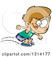 Clipart Of A Track And Field Dirty Blond White Boy Long Jumping Royalty Free Vector Illustration by toonaday