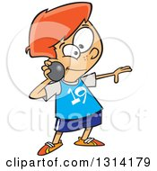Clipart Of A Track And Field Red Haired White Boy Throwing A Shot Put Royalty Free Vector Illustration by toonaday