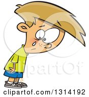 Clipart Of A Cartoon Dirty Blond White Boy Crying Over A Small Boo Boo Royalty Free Vector Illustration