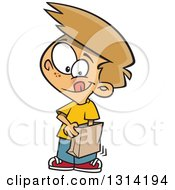 Clipart Of A Cartoon Dirty Blond White Boy Reaching Into A Grab Bag Royalty Free Vector Illustration