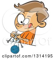 Cartoon Brunette White Boy Knitting With A Ball Of Yarn And Needles