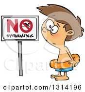 Clipart Of A Cartoon Brunette White Boy Wearing An Inner Tube By A No Swimming Sign Royalty Free Vector Illustration by toonaday