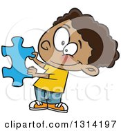 Clipart Of A Cartoon Happy Black Boy Holding A Blue Puzzle Piece Royalty Free Vector Illustration by toonaday