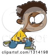 Clipart Of A Cartoon Distressed Black Boy With A Knot In His Shoe Laces Royalty Free Vector Illustration by toonaday