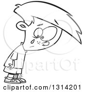 Lineart Clipart Of A Black And White Cartoon Boy Crying Over A Small Boo Boo Royalty Free Outline Vector Illustration