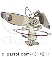 Clipart Of A Cartoon Happy Brown Dog Playing With A Hula Hoop Royalty Free Vector Illustration
