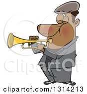 Clipart Of A Cartoon Musician Black Man Playing A Trumpet Royalty Free Vector Illustration by Ron Leishman