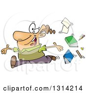 Clipart Of A Cartoon Brunette White Male Teacher Tossing Up Books And Running Joyfully Royalty Free Vector Illustration