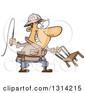 Clipart Of A Cartoon Brunette White Lion Tamer Man Holding A Whip And Chair Royalty Free Vector Illustration