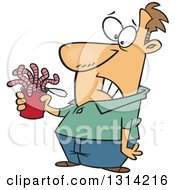 Clipart Of A Cartoon Brunette White Man Holding A Can Of Worms Royalty Free Vector Illustration