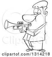 Lineart Clipart Of A Cartoon Black And White Musician African Man Playing A Trumpet Royalty Free Outline Vector Illustration by toonaday