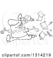 Lineart Clipart Of A Cartoon Black And White Male Teacher Tossing Up Books And Running Joyfully Royalty Free Outline Vector Illustration