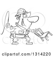 Lineart Clipart Of A Cartoon Black And White Lion Tamer Man Holding A Whip And Chair Royalty Free Outline Vector Illustration