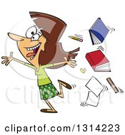 Clipart Of A Cartoon Excited Brunette White Female Teacher Running Gleefully And Throwing Up Books Royalty Free Vector Illustration