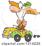 Clipart Of A Cartoon Happy Cown Driving A Tiny Car Royalty Free Vector Illustration