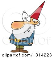 Clipart Of A Cartoon Happy Senior Male Gnome Smiling Royalty Free Vector Illustration
