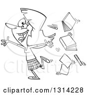 Outline Clipart Of A Black And White Cartoon Excited Female Teacher Running Gleefully And Throwing Up Books Royalty Free Lineart Vector Illustration