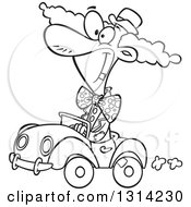 Outline Clipart Of A Black And White Cartoon Happy Clown Driving A Tiny Car Royalty Free Lineart Vector Illustration by toonaday