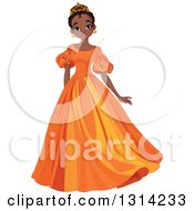 Clipart Of A Beautiful African Princess In An Orange Dress Royalty Free Vector Illustration by Pushkin