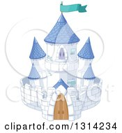 White Fantasy Fairy Tale Castle With Blue Turrets And A Turquoise Flag