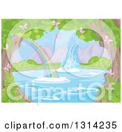 Clipart Of A Fantasy Spring Time Landscape Of A Waterfall And Rainbow At A Pond With Pink Butterflies Ferns And Trees Royalty Free Vector Illustration