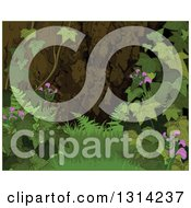 Clipart Of A Nature Background Of A Forest Floor With Grass Ivy Flowers And Ferns With A Thin Green Border Royalty Free Vector Illustration