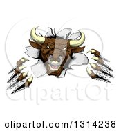 Clipart Of A Mad Aggressive Clawed Bull Monster Slashing Through A Wall Royalty Free Vector Illustration