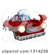 Clipart Of A Happy Red Car Character Wearing A Baseball Cap Holding A Wrench And Thumb Up Royalty Free Vector Illustration