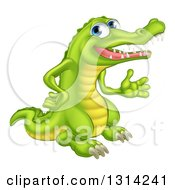 Clipart Of A Happy Blue Eyed Crocodile Presenting To The Right Royalty Free Vector Illustration