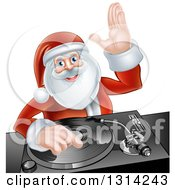 Clipart Of A Happy Christmas Santa Claus Dj Mixing Music On A Turntable And Waving Royalty Free Vector Illustration