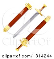 Clipart Of A Sword With Scabbard Royalty Free Vector Illustration