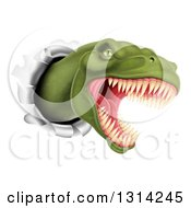Clipart Of A 3d Roaring Angry Green Tyrannosaurus Rex Dino Head Breaking Through A Wall Royalty Free Vector Illustration