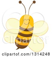 Clipart Of A Cute Cartoon Happy Baby Bee Royalty Free Vector Illustration